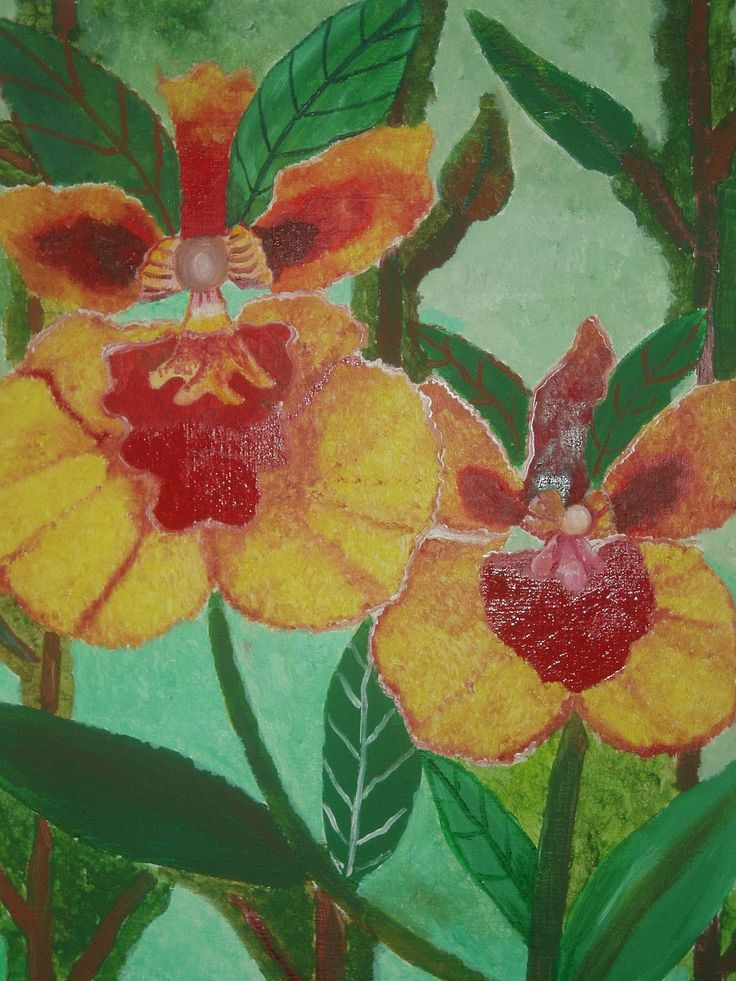 Orquídeas- óleo sobre lienzo