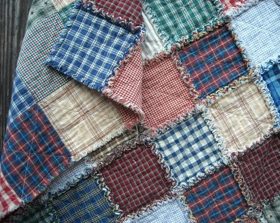 "Plaid Baby Quilt: Plaid Rag Quilt, Baby, Child, Throw, Homespun Fabric, 33""x38"""