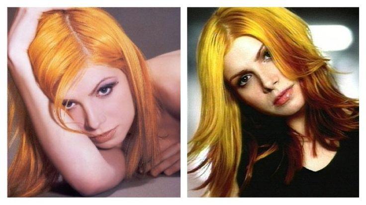 Singer Vitamin C, yellow and orange hair.