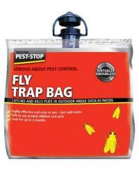 £3.99 - Pest-Stop Fly Trap Bag   Fly Trap Bags are an outdoor product and ideal for use around patios and decking etc. The bag is simple to use and just needs water adding to the attractant, which has the added benefit of being virtually odourless.