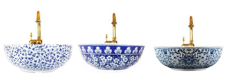 The classic beauty of Blue and White has been captured by the London Basin Company, in five fabulously decorative porcelain basins. londonbasincompany.com