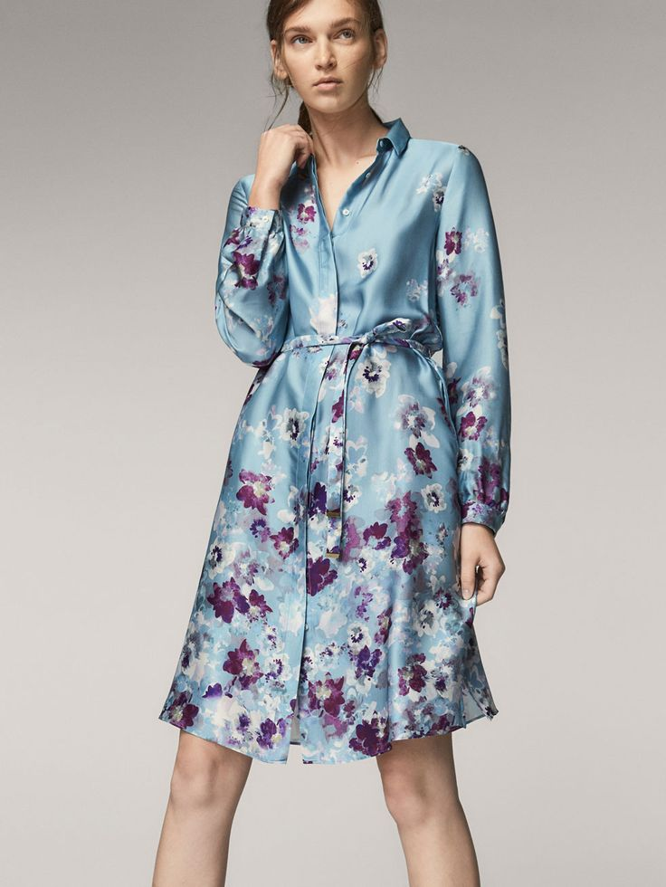 Fall Winter 2017 Women´s FLORAL PRINT SHIRT DRESS WITH TIED DETAIL at Massimo Dutti for 79.95. Effortless elegance!