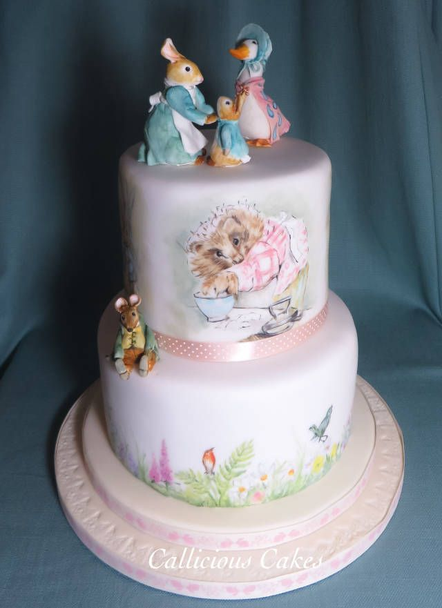 What a delight it was to make both these cakes for my granddaughter's First birthday party a few days ago. The Beatrix Potter Cake is a two-tier Hand painted sponge cakes and I made the characters up top with modelling sugarpaste. The smash cake...
