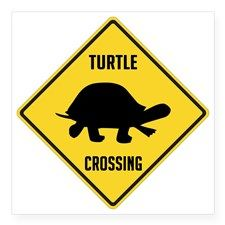 "crossing-sign-turtle Square Sticker 3"" x 3"" for"