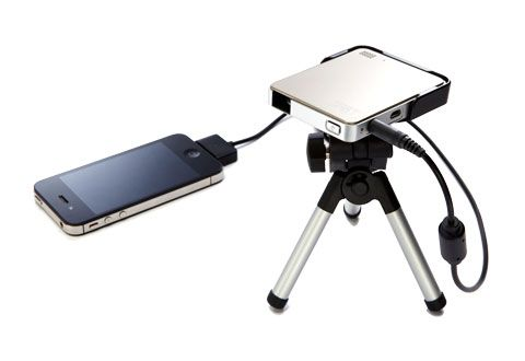 iPhone/iPad Pocket Projector; use alone or with the tripod; projects on any flat surface @ Sharper Image