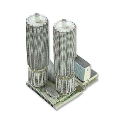"Build your own Marina City, the distinctive concrete ""corn cob"" towers designed by Bertrand Goldberg to provide affordable housing for a janitorial union."