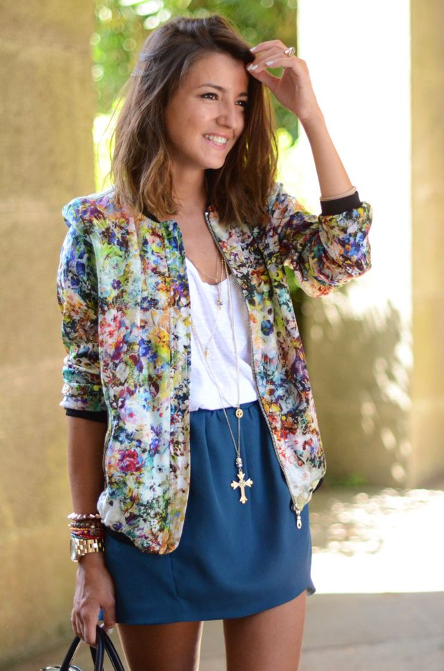 """floral bomber jacket (^.^) Thanks, Pinterest Pinners, for stopping by, viewing, re-pinning, following my boards. Have a beautiful day! ^..^ and """"Feel free to share on Pinterest ^..^ #streetfashion #fashionupdates"""