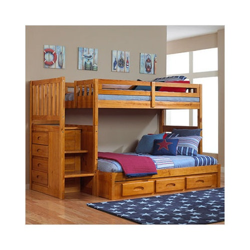Model Of Bundle 38 Discovery World Furniture Honey Twin Over Full Staircase Bunk Bed Luxury - Minimalist bunk bed world Contemporary