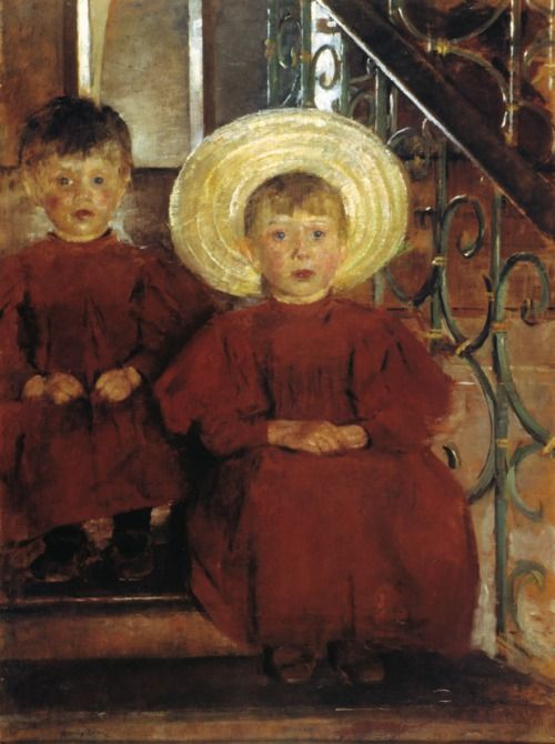 Olga Boznanska - Portrait of Two Children on the Stairs, 1898