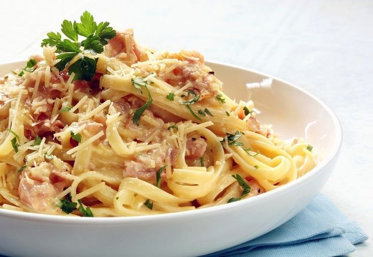 Рецепт пасты «Карбонара с беконом и сливками»