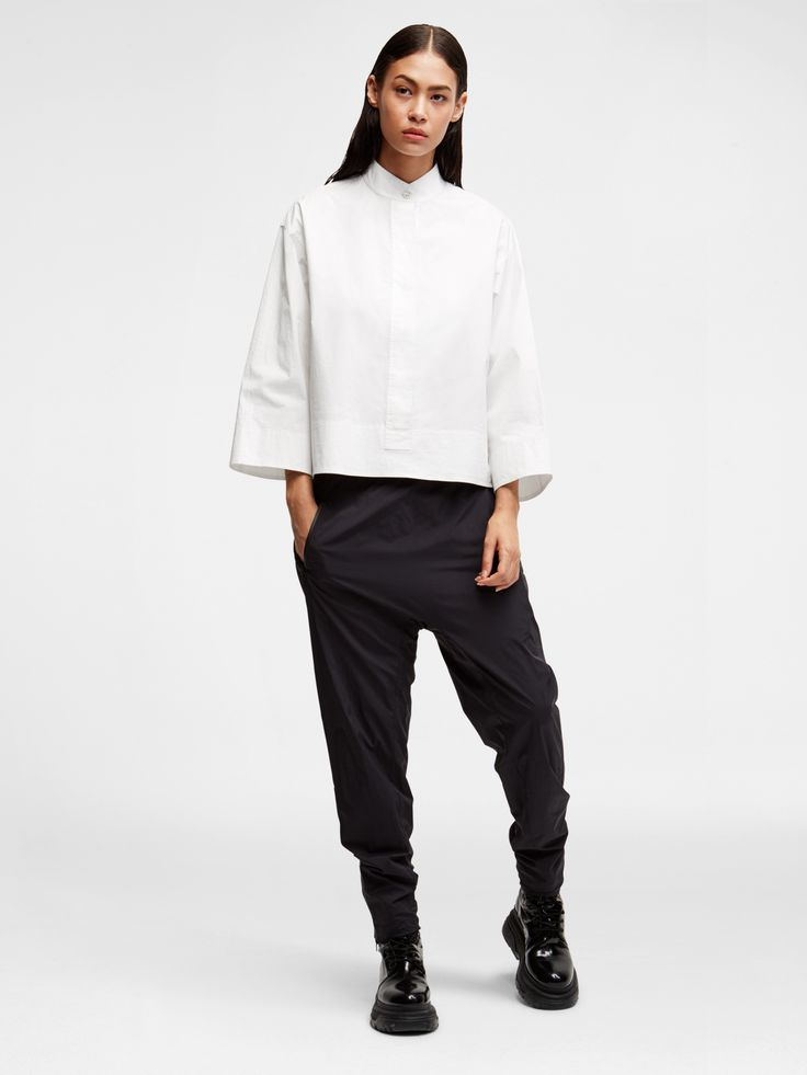 DKNY Pure Mandarin Collar Shirt, WHITE
