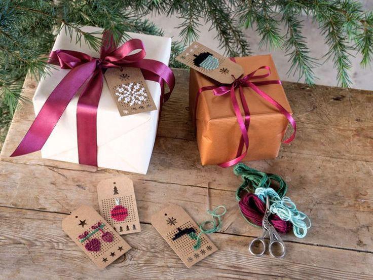 DIY-manilatag / How to embroider patterns on gift tags / Christmas Gift Wrapping
