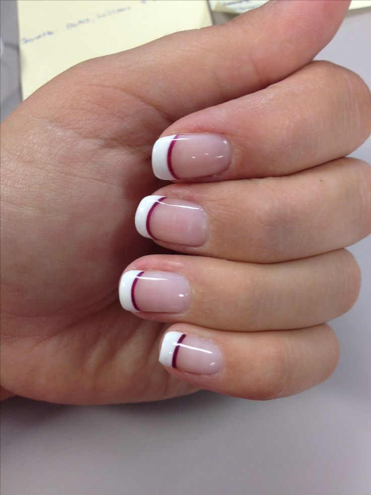 Wedding nails French tip with a line of purple Whatever