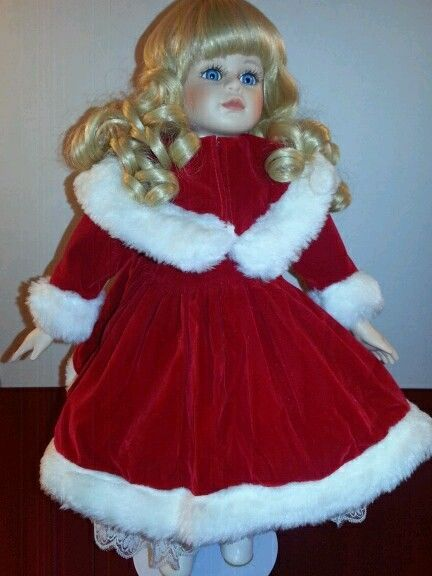 Holiday Christmas Unmarked Porcelain Doll Blonde Hair Blue Eyes