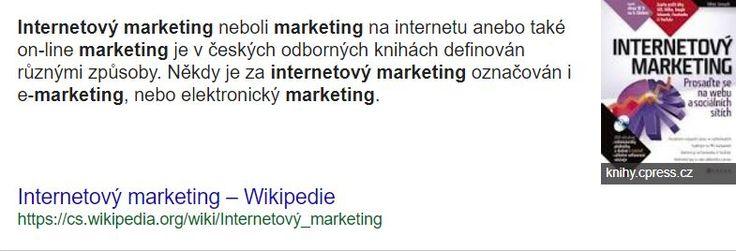 internetový marketing neboli marketing na internetu anebo také on-line marketing je v českých odborných knihách definován různými způsoby. Někdy je za internetový marketing označován i e-marketing, nebo elektronický marketing. Ale toto označení není správné, protože e-marketing zahrnuje veškerý elektronický marketing, tedy včetně internetového marketingu, mobilního marketingu, online televize. Do budoucna to může být i přímá komunikace domácí ledničky s on-line obchodem. Internetový…