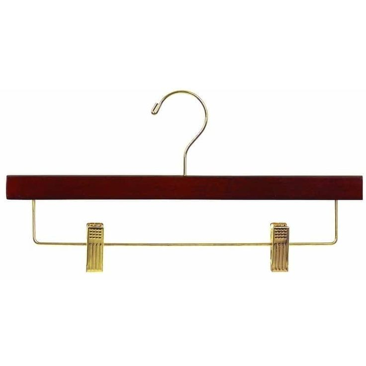 American Wooden Pant Hanger with Walnut Finish and Adjustable Cushion Clips, Flat Wood Bottom Hangers with Brass Swivel Hook (box of