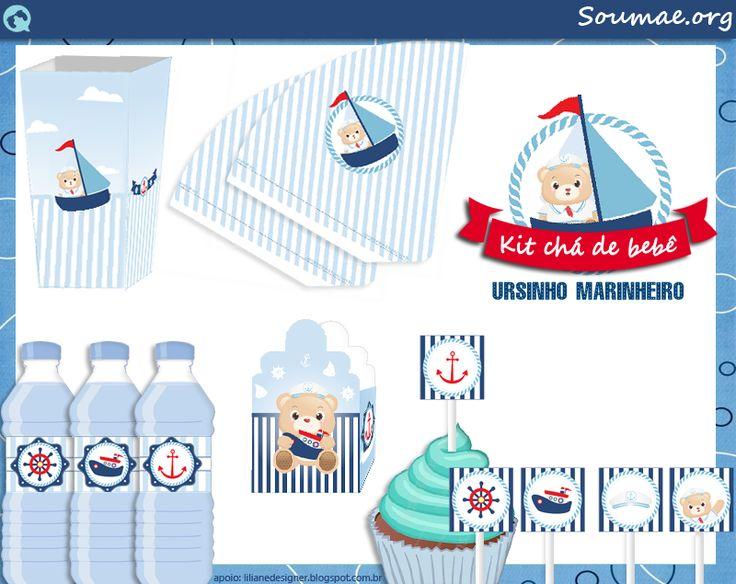 Azul marinho, branco e toques de vermelho. Âncoras, cordas, navios, marinheiros e listras. Lindo kit digital grátis para você baixar e usar na sua festa!