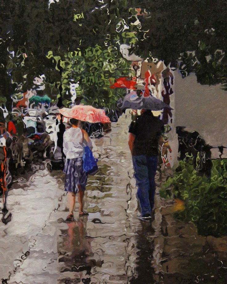 Rain #2 Urban landscape oil painting by Kenneth Young www.kenyoungfineart.com