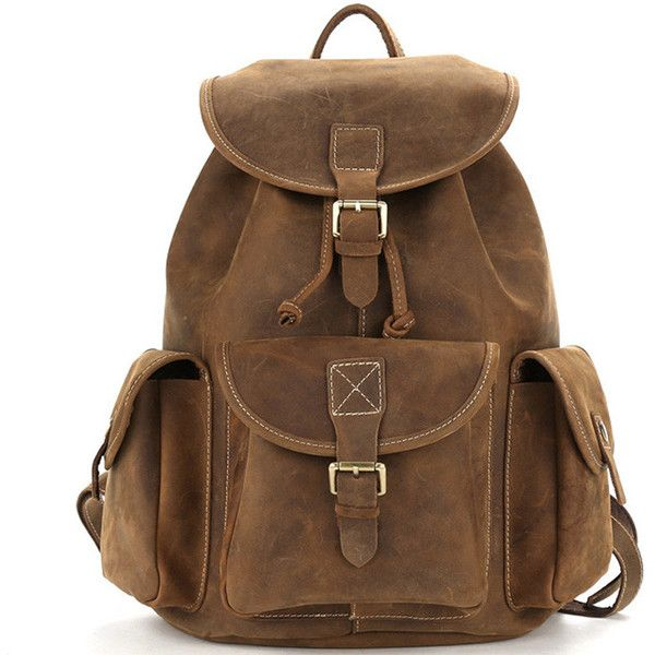 Vintage crazy horse leather oak brown backpack ($189) ❤ liked on Polyvore featuring bags, backpacks, vintage leather rucksack, vintage leather satchel, leather satchel, satchel handbags and genuine leather backpack