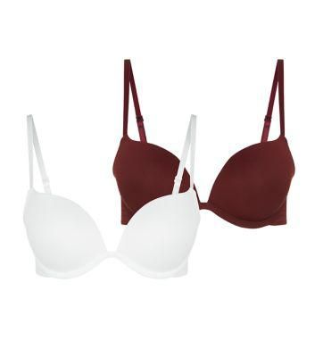 2 Pack Burgundy and Cream Push Up Bras #bra #women #covetme #newlook