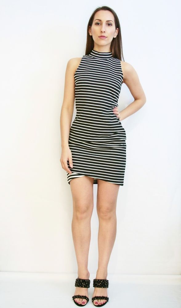 BNWT Staple The Label High Neck Striped Bodycon Dress Size S Or AU 8 Eu 36 US 4  | eBay