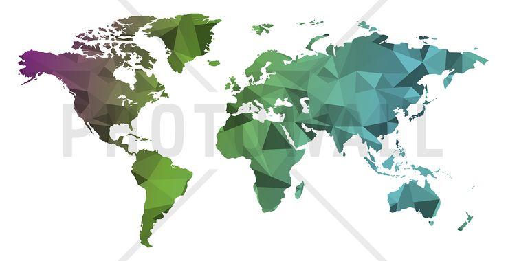 Polygonal World Map - Fotobehang
