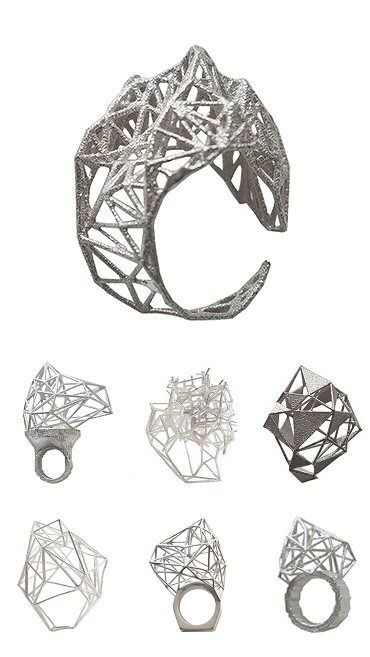 Sculptural 3D Geometric Ring - architectural jewellery design inspired by mountains & mathematics; jewelry art // Lotocoho