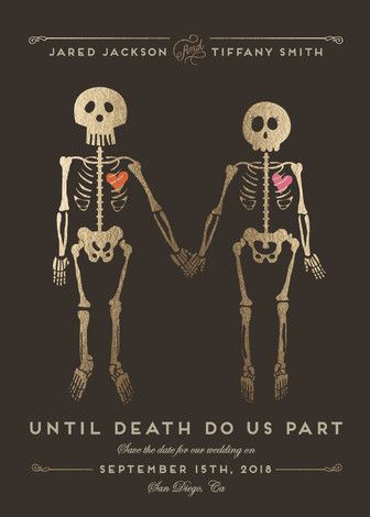 """Until Death"" - Whimsical & Funny Save The Date Cards in Golden by Katie Zimpel."