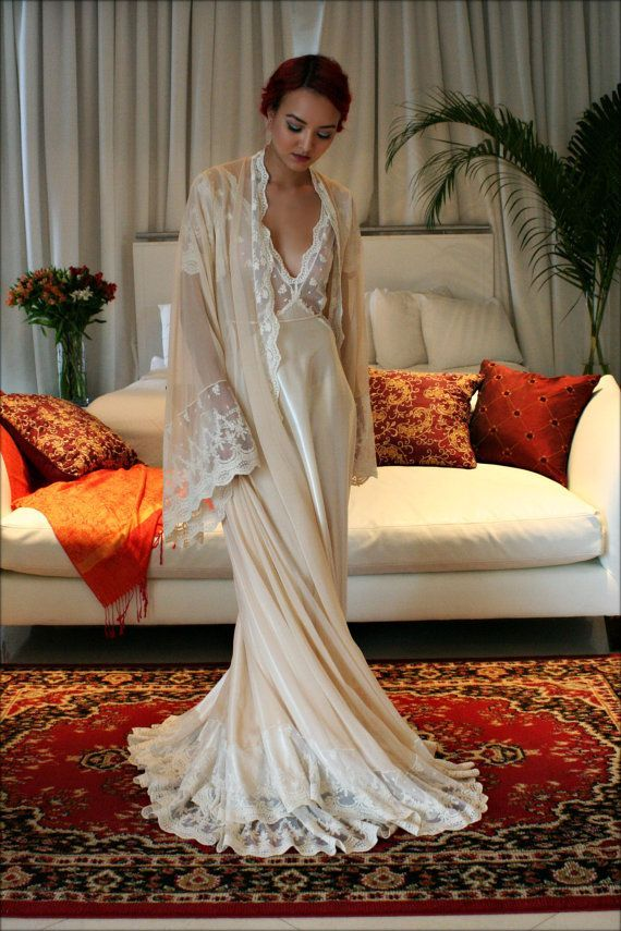 Bridal Silk Robe Champagne Chiffon Bridal by SarafinaDreams