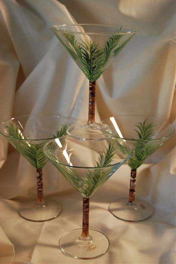Hand Painted Martini Palm Tree Glasses Crafts Glasses