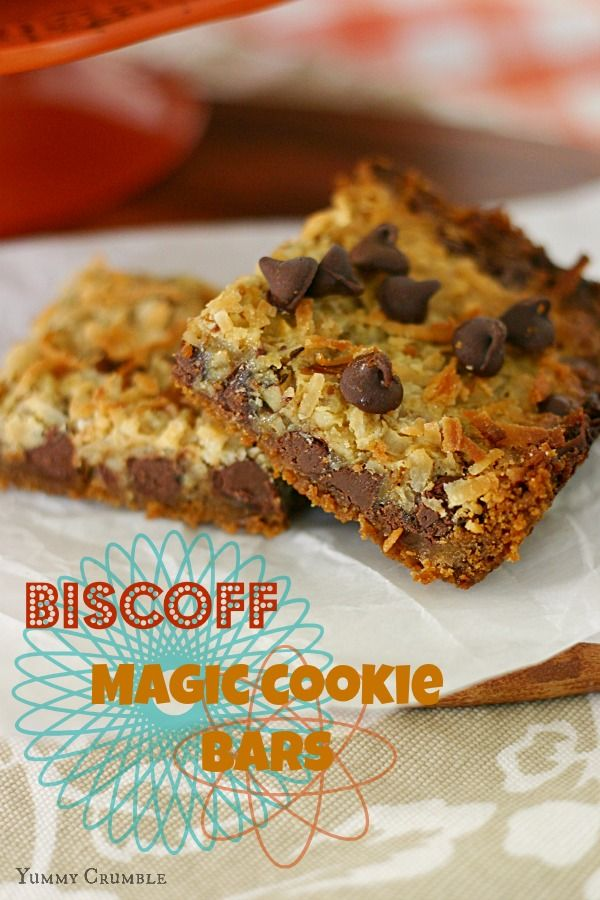 Biscoff Magic Cookie Bars -Infamous Magic Cookie Bars with a little twist. Biscoff! Buttery Biscoff cookie crust with Biscoff sweetened condensed milk, dark chocolate chips, walnuts, and coconut. I wouldn't have my Biscoff Magic Cookie Bars any other way! - www.Yummy Crumble.com