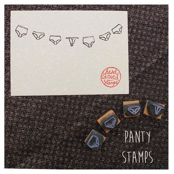 Panty stamps. Set of 4 hand carved stamps by HandCarvedStamps