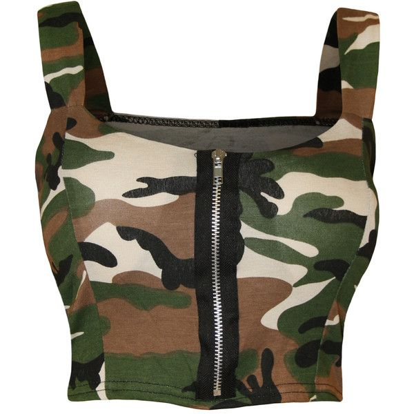 Reina Camo Print Bralet Top ($14) ❤ liked on Polyvore featuring tops, shirts, crop tops, tank tops, multi, army crop top, army camo shirt, polyester shirt, camo shirts and short crop tops