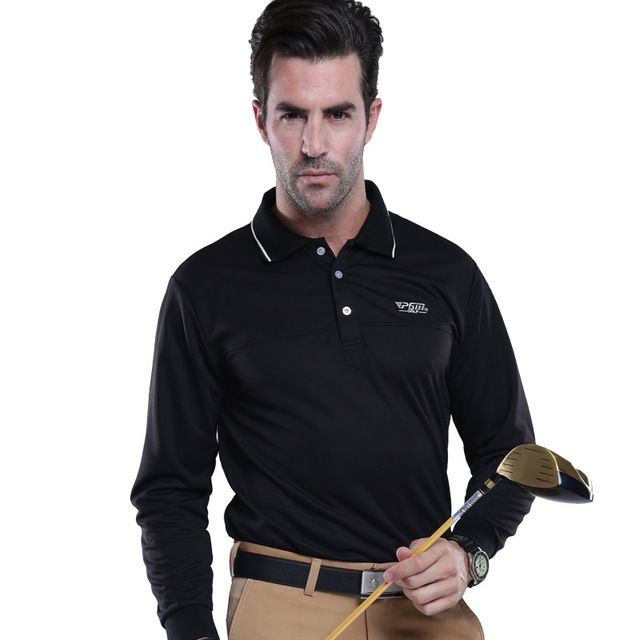 2016 NEW PGM Long Sleeve Golf T-Shirts Mens Golf Wear Quick Dry Outdoor Sports Golf Polo Shirts 5 color size M-2XL