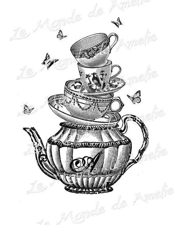 Tea with Alice wonderland tea cup mad hatter fantasy graphic art ephemera gift tag label napkins burlap pillow large image Sheet n.127