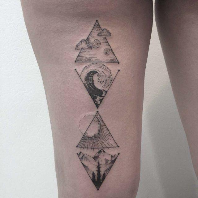 Ozean und Berge Tattoo