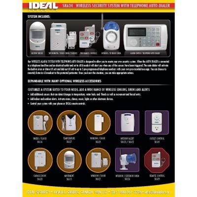 IDEAL Security 7-Piece Wireless Home Security Alarm System with Telephone Notification Dialer-SK634 - The Home Depot