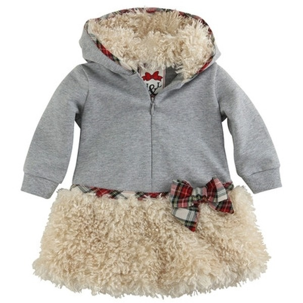 Monnalisa  Kleid - Grau MONNALISA - exklusive kindermode baby, mädchen    Heather grey coat made of stretch jersey. Faux fur inside the hood and at the bottom. Long sleeves. Zip fastening on the chest. Red tartan trims and bow.