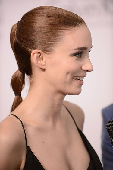 The 10 Chicest Ponytails for Fall 2013  -  Rooney Mara: Sectioned Off