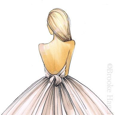 Bridal Fashion Illustration-Bridal Sketch-Bride Fashion Sketch-Bride Illustration-Brond Bride-Wedding Illustration-Bride Print-Brooke Hagel