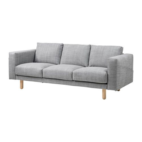 IKEA - NORSBORG, 3-sitssoffa, Isunda grå, björk,