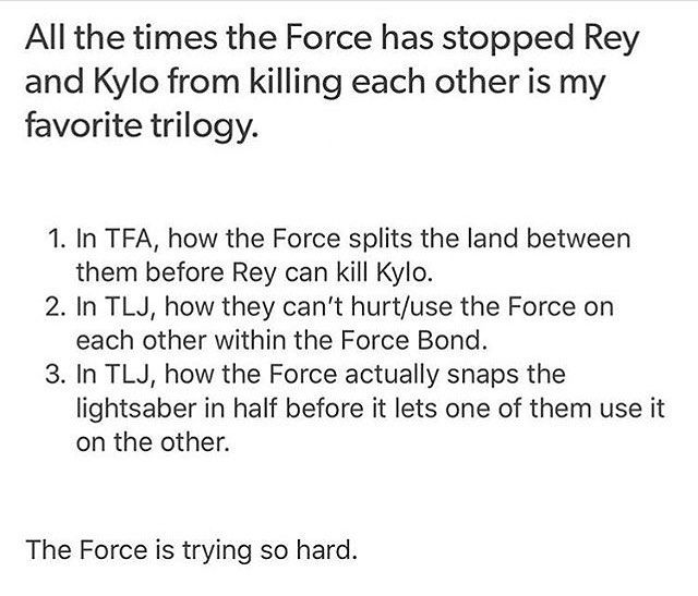 The Force is the number one Reylo shipper.