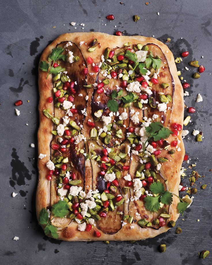 Pomegranate as a pizza topping? You bet! The colorful, crunchy seeds make a lovely foil for eggplant, pistachios, feta, and cilantro.