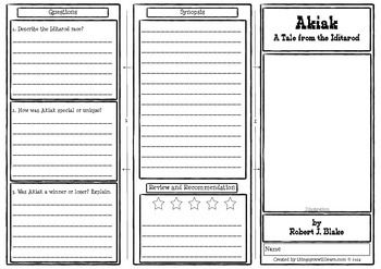 A double-sided worksheet for Akiak that tri-folds into a pamphlet.It includes an illustration section, a vocabulary practice (10 words), a story map, comprehension questions (3), a write a synopsis and 5 star review/recommendation section.An instruction page and answer key are included.___________________Theme One Houghton Mifflin Reading 4Journeys Theme Pamphlets BundleAkiak Comprehension PamphletGrandfather's Journey Comprehension PamphletFinding the Titanic Comprehension PamphletBy the…