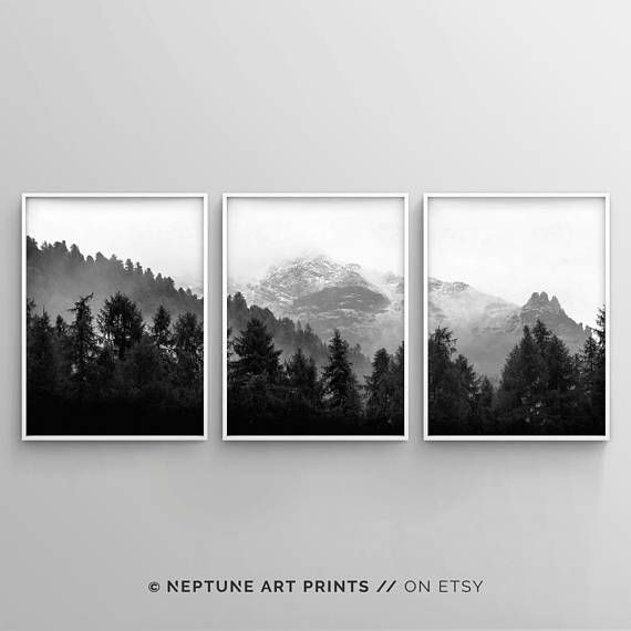 3 Piece Forest Wall Art Set Of 3 Black And White Woodland Etsy Forest Wall Art Forest Art Black And White Wall Art