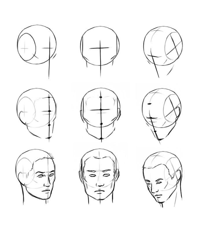 картинки как нарисовать голову человека поэтапно парк
