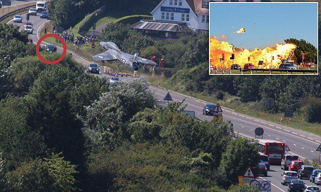 Seconds from disaster: Horrifying moment jet plummets into traffic on the A27 as grandmother reveals how she witnessed the apocalyptic scenes and put her foot down through the fireball