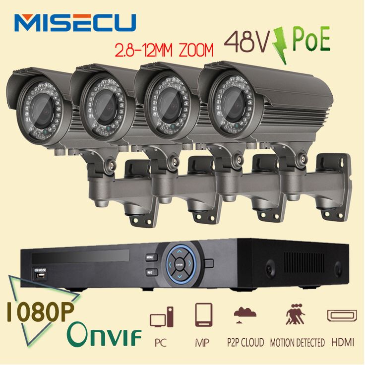 Onvif 1080P 8CH HD NVR KIT real POE SWITCH 48V 2MP 4pc POE module IP 36pcs IR 2.8-12mm Zoom lens Camera Waterproof  P2P cctv kit #men, #hats, #watches, #belts, #fashion, #style, #sport