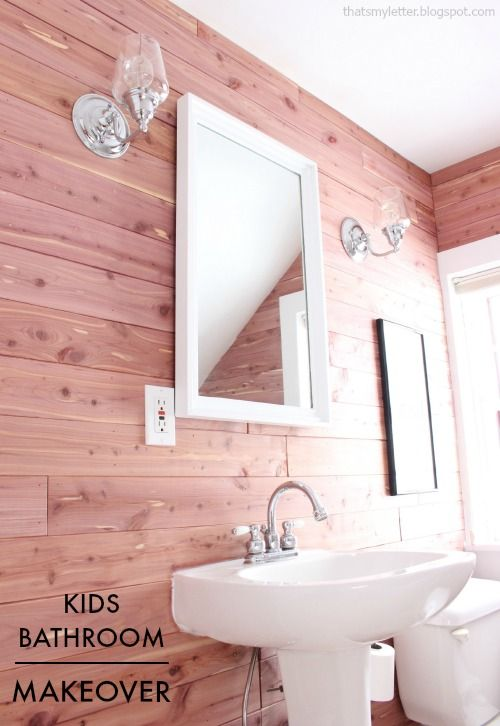 DIY bathroom makeover with cedar planked walls