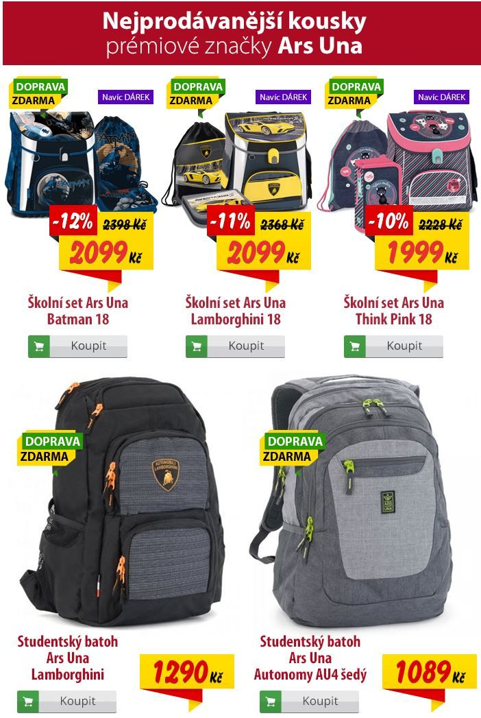 Školní kolekce setů a batohů Ars Una pro rok 2018  85e1a3a110